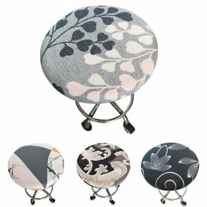 Round Seat Cover Bar Stool Stretch Slipcover Chair Cover Floral Printed Elastic