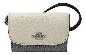 Coach Women's Card Pouch Crossgrain Leather Wristlet Wallet in Colorblock