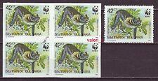 ERROR 1989  Bulgaria WWF Bats  key value  Imperforated Blok of 4  MNH **