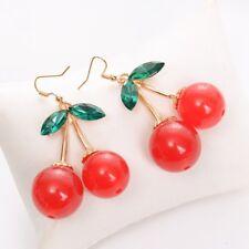 Golden Sweet Toe Resin Fruit Fresh Green Leaf Red Cherry Harvest Stud Earrings