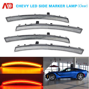 For 2014-2019 Chevy Corvette C7 LED Side Marker Light Front Rear Replacement 4X