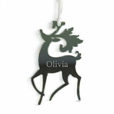 Personalised Silver Reindeer Christmas Tree Decoration Love Bauble Gift Present