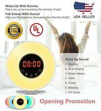 Wake Up Light Alarm Clock Digital Led 6 Color Switch Radio Sunrise Natural Light