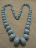"Light Blue Plastic Graduated Disc Necklace - 24"" long"