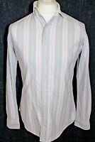 RALPH LAUREN Mens Purple,White,Green Strip White Collar Shirt Size Small