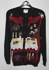 SUSAN BRISTOL small Ugly Tacky Black 1994 Embroidered CHRISTMAS Cardigan SWEATER