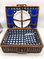 Vintage Woven Wicker Rattan Picnic Basket, Suitcase Style Blue Kitchen Decor