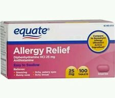Allergy Relief Antihistamine Equate 25mg 100 Tablets Each