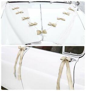 Jute Autoschleifen Set Hochzeit Vintage Natur Autodeko Autoschmuck