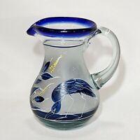 Vintage Artisan Hand Blown Painted Art Glass Creamer Satin Cobalt White Heron