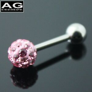 A pair (2pc) Violet cubic snow ball barbell earring stud piercing 18g