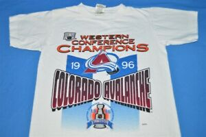 vintage 90s COLORADO AVALANCHE 1996 STANLEY CUP CHAMPS t-shirt HOCKEY YOUTH M YM