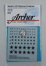 Archer 1/35 Modern US National Star Vehicle Insignias (Black) (3 sizes) AR35322