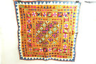 """ANTIQUE VINTAGE HAND SEWN EMBROIDERED WALL TAPESTRY 28"""" X 28"""" TRIBAL MIDDLE EAST"""