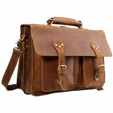 """Vintage Men Real Leather Briefcase Backpack 17"""" Laptop Satchel Shoulder Book Bag"""