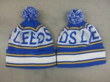 Leeds United Football Bobble Hat Knitted Blue White & Yellow