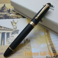 New Jinhao X450 Matte Black Fountain Pen 0.7mm Broad Nib 18KGP Golden Trim
