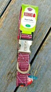 """Kong Reflective LARGE Dog Flat Rope Collar Fuchsia & Grey Neck Size 19"""" - 26"""""""