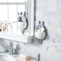 Home Bathroom Toothbrush Holder Wall Mount Suction Toothpaste Storage Rack