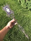 Antique Weathervane Arrow Hand Wrought Cast Iron Ruby Etched Glass Maltese Cross