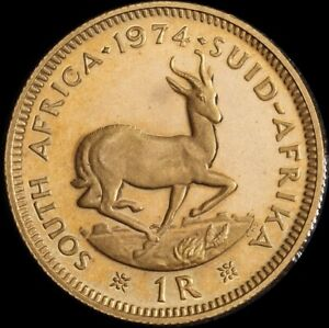 South Africa 1974 Proof Gold 1 Rand KM# 63 FDC