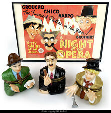 Marx Brothers porcelain hinged ring box set Harpo, Chico & Groucho