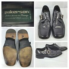 PAKERSON Black Italian Handmade Leather Monk Strap Shoes Size EU 42, US9