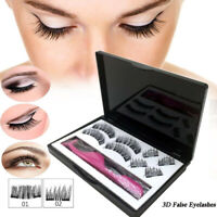 Magnetic Eyelashes Reusable Triple Magnet Long 3D False Eye Lashes Extension UK
