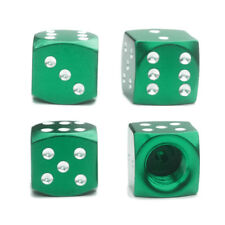 4x Green Dice Tire Valve Stem Caps for Motorcycle Bike Car Truck Hot Rod SUV BMX