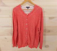 Lands End Women's Plus Sz 1X 16W - 18W Cardigan Sweater Orange-red Polka-dot