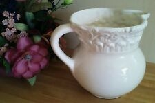 """Pitcher~Made in Italy/Italian~All White/ Embossed...7.5"""" Tall"""