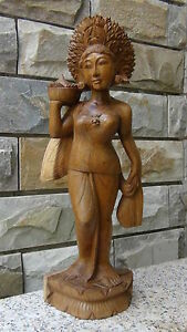 OLD  TEAK WOOD HAND CARVED  LARGETHAI DEITY WOMAN STATUE