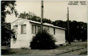 PARCHMAN, Mississippi RPPC Photo Postcard ILLINOIS CENTRAL RAILROAD DEPOT 1960s