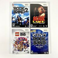 Lot of 4 Nintendo Wii Rock Band Games (RockBand 2, ac/dc, Lego, Track Pack 1)