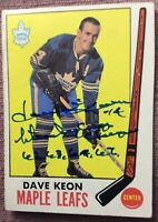 "*SIGNED 1969-70 Topps 51 DAVE KEON INSCRIBED ""Stanley Cup Champs 62 63 64 67""~EX"