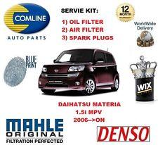 FOR DAIHATSU MATERIA 1.5 MPV 2006-->ON OIL AIR FILTER + SPARK PLUGS SERVICE KIT