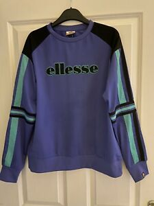 Ellesse Cervina Purple And Green Retro Style Long Sleeve Track Jumper Size 8