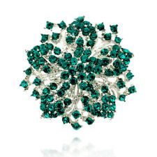 Luxury Vintage Style Emerald Green Rhinestones Flower Silver Brooch Pin BR504