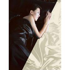 BLACK / CREAM SATIN KING SIZE DUVET COVER, FITTED SHEET, 4 X PILLOWCASES BEDDING