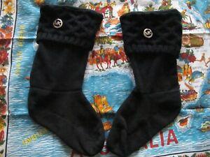 Michael Kors Women's Black Logo Knit Tall Boot Fleece Ribbed Socks Size S/M