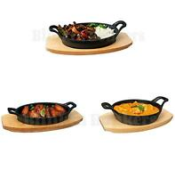 CAST IRON OVEN SIZZLE SIZZLING FOOD SERVING BOWL WOODEN BASE BOTTOM TRIVET CURRY