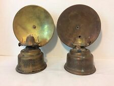 Antique Brass Hornet Pair of Oil Lamps English Made Wall Mount Reflector
