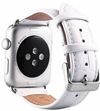 WHITE GENUINE LEATHER Crocodile Croc Strap Band for Apple Watch iWatch 38mm