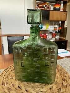 Green Decanter Genie Bottle Style Retro Vintage Bottle Home Living Display