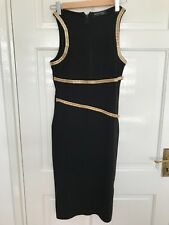 Stunning Black with Gold Chain Detail Cocktail Evening Dress Size 10