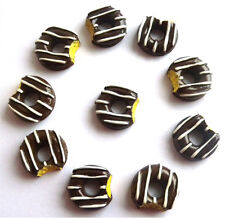 GORGEOUS 10 CHOCOLATE EATEN DONUTS FLATBACK CABOCHONS  - FAST FREE SHIPPING