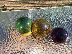 Set Of 3 Japanese Glass Ball Fishing Net Floats Glass Vintage