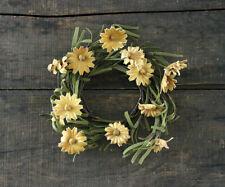Candle Ring Tea Stain Daisy Primitive Floral Decor Mini Wreath 3.5 in Inner Dia
