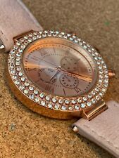 NEXT Pink Rose Gold Tone Sparkle Boyfriend Style Watch RRP £40