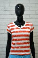 Maglia a Righe Donna LACOSTE Taglia 40 Polo Manica Corta Shirt Woman Jersey Frau